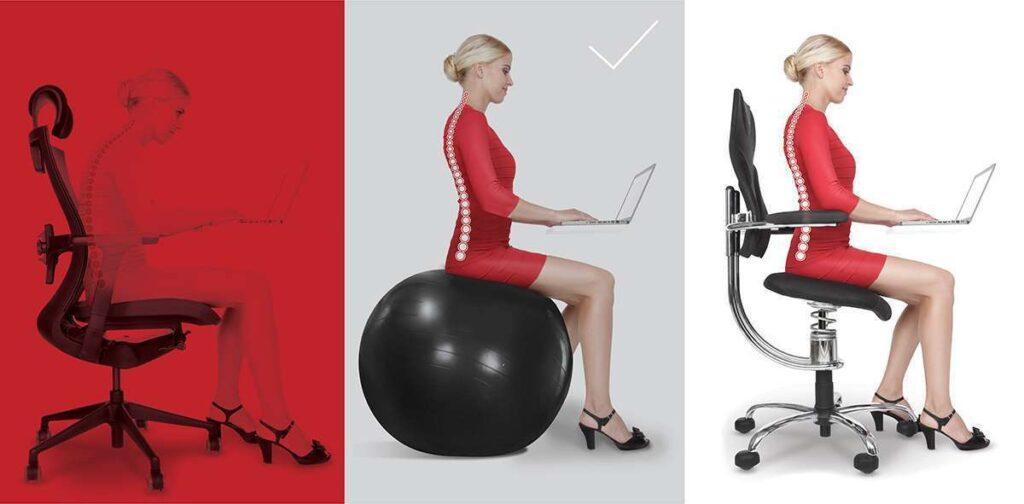 Terapevtska žoga prikaz pravilnega sedenja
